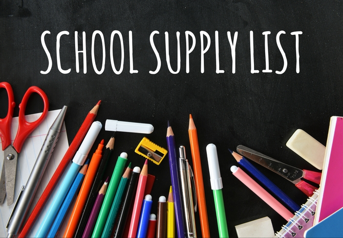 School Supply List for 2019-20